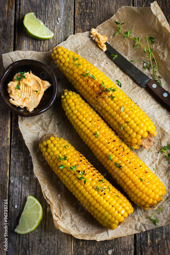 Grilled corn with garlic and chili butter Poster