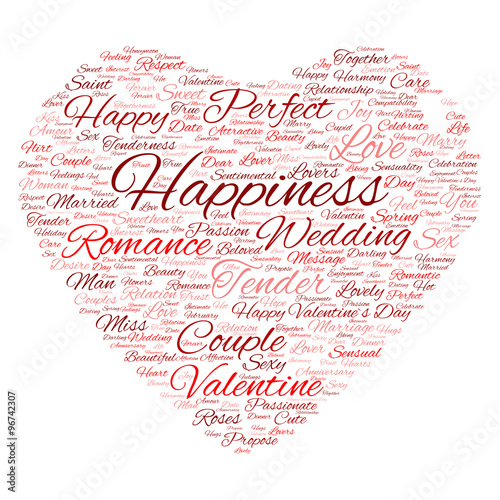 Conceptual Valentine heart word cloud #96742307