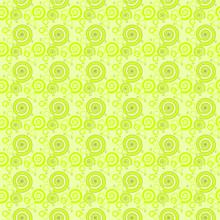Abstract Geometric Background, Seamless Spiral Pattern, Various Bright Green Spirals And Circle Elements Of Different Sizes On Pale Green Background