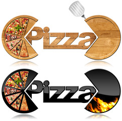 Obraz na Szkle Do pizzerii Pizza - Two Symbols with a Slices of Pizza / Two symbols with the slices of pizza, text Pizza, flames and spatula. Isolated on white background