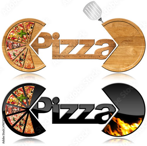 Pizza - Two Symbols with a Slices of Pizza / Two symbols with the slices of pizza, text Pizza, flames and spatula. Isolated on white background - 96742934