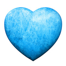 Blue Heart Covered With Ice And Frost