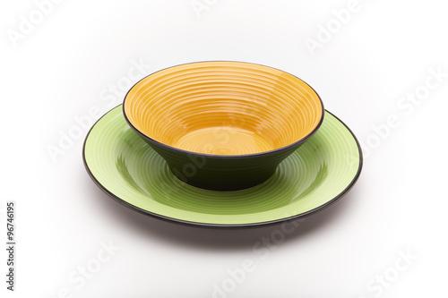 Piatti Colorati Arancione E Verde Su Sfondo Bianco Buy This Stock