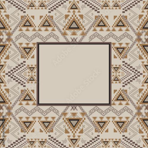 Vector decorative frame. Ethnic tribal geometric pattern