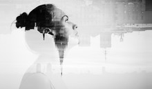 Monochrome Double Exposure With Attractive Young Woman And Beautiful City