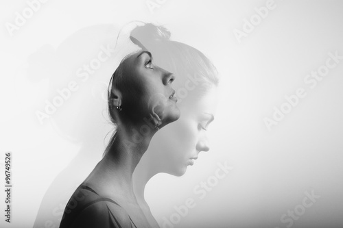 Fotografie, Obraz  Double exposure with young and beautiful girl, monochrome