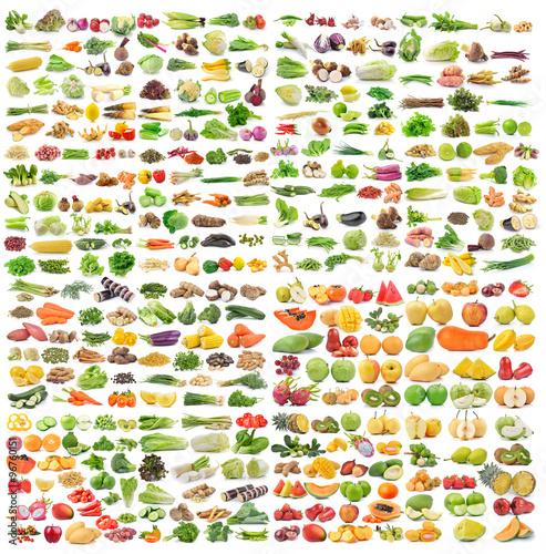 Foto op Plexiglas Groenten set of vegetable and fruit on white background