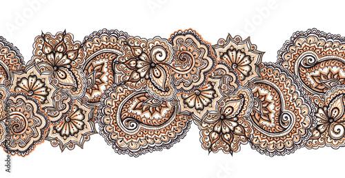 Materiał do szycia Ozdobne dekoracyjne obramowania powtarzalnym. Indyjska haft ramki