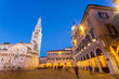 Modena, Emilia Romagna, Italy. Piazza Grande at sunset, with Cathedral Duomo and Ghirlandina leaning tower