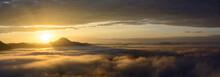 Fog On The Mountain At Sunset At Phu Thok Chiang Khan Loei Provi