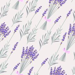 Fototapeta Romantyczny Lavender bouquets seamless