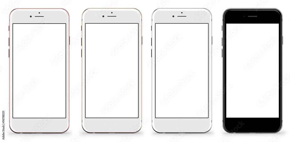 Set von vier Smartphones Gold, Rose, Silber und Schwarz - leeren ...