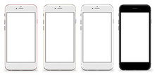 Set Of Four Smartphones Gold, Rose, Silver And Black - Blank Screen And Isolated On White Background, High Resolution. Template, Mockup.