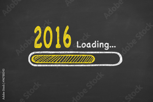 Poster  Loading New Year 2016 on Chalkboard