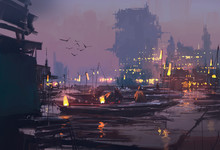 Boats In Harbor Of Futuristic City,evening Scene,illustration Painting