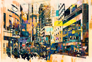 Fototapetaabstract art of cityscape,illustration painting