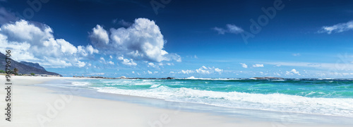Spoed Foto op Canvas Nachtblauw Panorama of a beach landscape