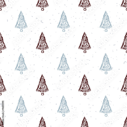 Fototapety, obrazy: Seamless pattern with hand drawn christmas tree. Doodle holiday background