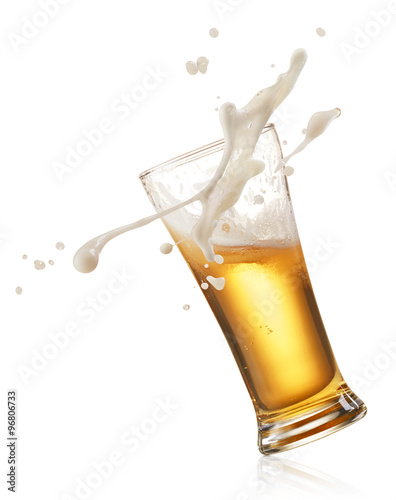 splashing beer Canvas Print