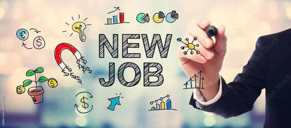 Fototapeta Businessman drawing New Job concept
