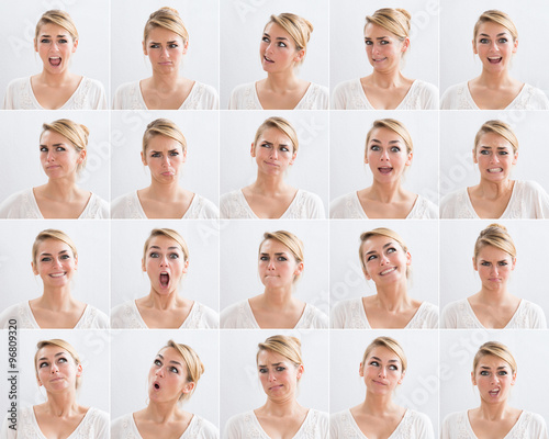 Collage Of Woman With Various Expressions Fototapeta