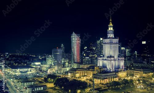Fototapeta Warsaw downtown at night obraz