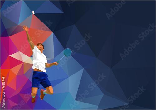Obrazy Badminton   obraz-na-plotnie-polygonal-professional-badminton-player-on-colorful-low-poly-background-doing-smash-shot-with-space-for-flyer-poster-web-leaflet-magazine-vector-illustration