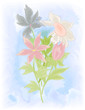 Vector watercolor flowers on a blue background.