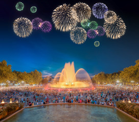 Panel Szklany Beautiful fireworks under Magic Fountain in Barcelona