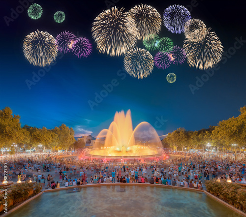 Beautiful fireworks under Magic Fountain in Barcelona - 96822730