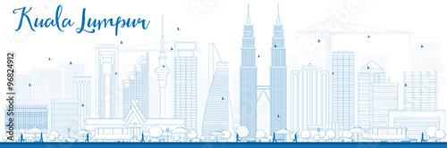 Photo  Outline Kuala Lumpur Skyline with Blue Buildings