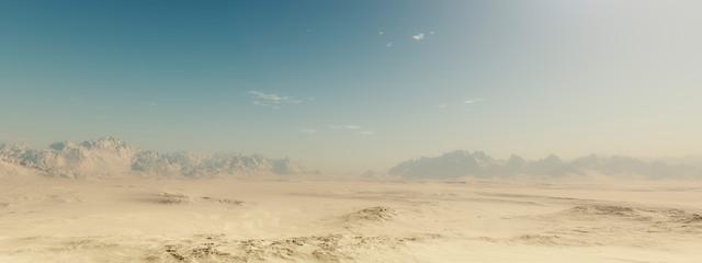 Sandy pustyni krajobraz z niebieskim niebem.