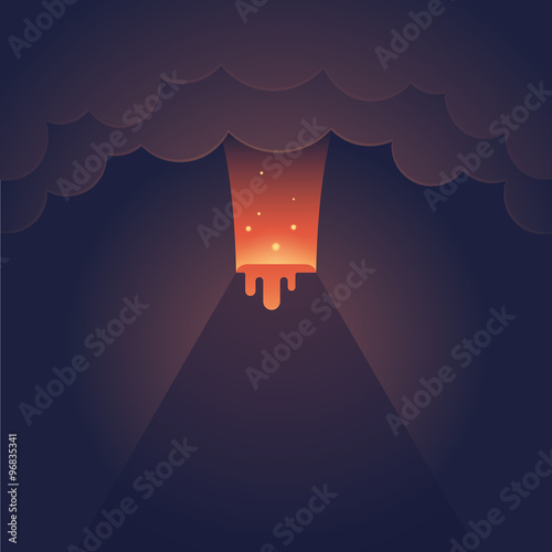 Fotografie, Obraz  Erupting volcano illustration