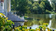 Princes Olga Pavilion On Island In Olga's Pond. Russia, Peterhof