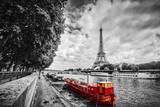 Fototapeta Fototapety Paryż - Eiffel Tower over Seine river in Paris, France. Vintage