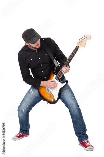 In de dag Art Studio Musician playing electric guitar with enthusiasm. Isolated on white
