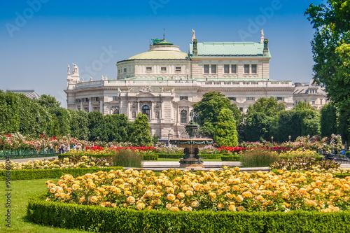 Vienna Volksgarten park with Burgtheater, Austria