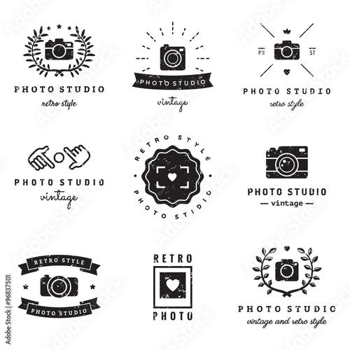 Fotografía  Photo studio logo vintage vector set
