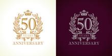 50 Anniversary Luxury Logo. Te...