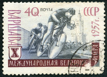 USSR - 1957: Shows Bicyclist, 10th Peace Bicycle Race In Warsaw