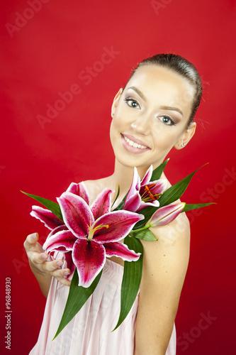 Fotografie, Obraz  beautiful women with big flower lily