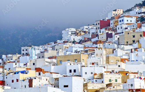 Tuinposter Marokko White moroccan town Tetouan near Tangier, Morocco