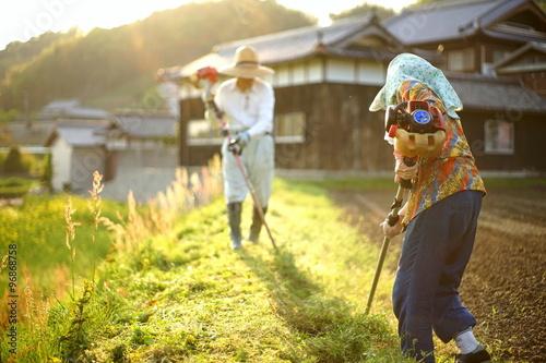 Fotografiet  mowing persons in rural area - 地方の農家で草刈りをする高齢者夫婦