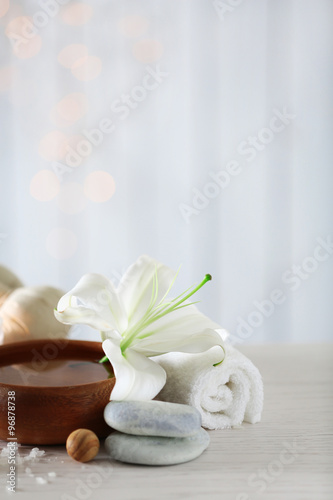 Fototapety, obrazy: Beautiful composition of spa treatment on wooden table