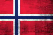 Grunge Flag Of Norway On Concr...
