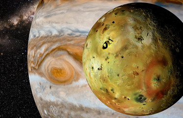 Obraz na Szkle Kosmos jupiter and moon io