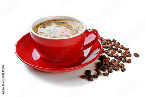 Spoed Foto op Canvas Cafe A red cup of tasty drink and scattered coffee grains, isolated on white
