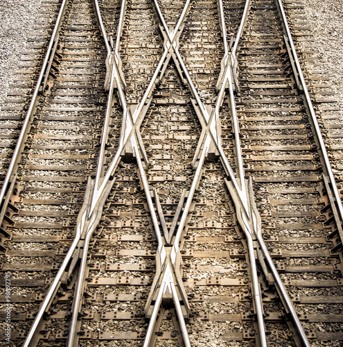 Fotografie, Obraz  Multiple railway track switches , symbolic photo for decision, separation and le