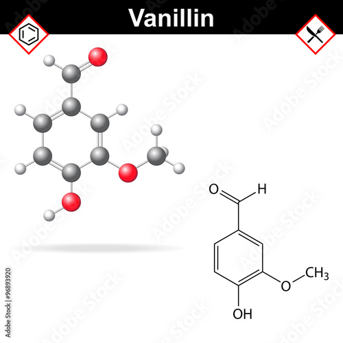 Photo Vanillin - chemical formula and molecular structure