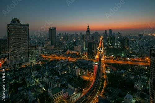 sky scrapper scene of bangkok thailand capital before the dawn Canvas Print